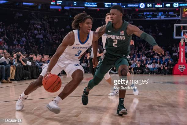 Kentucky Wildcats guard Tyrese Maxey drives to the basket during the second half of the State Farm Champions Classic game between the Michigan State...