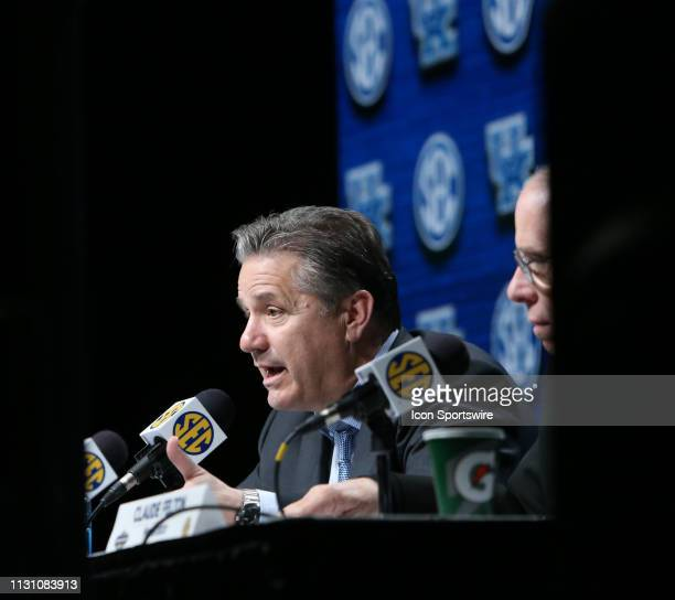 Kentucky Wildcats head coach John Calipari answers a question in the postgame press conference following an 8278 loss in a Southeastern Conference...