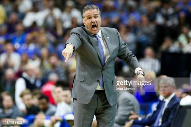 Kentucky Wildcats head coach John Calipari coaches from the bench during a game against the Wofford Terriers at VyStar Veterans Memorial Arena on...