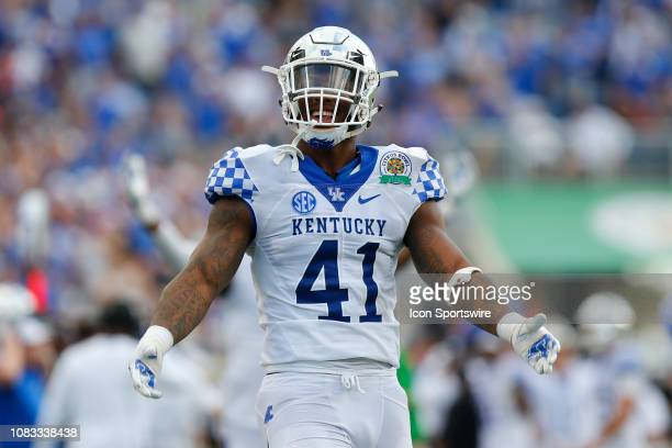 Kentucky Wildcats linebacker Josh Allen looks on during the Citrus Bowl game between the Kentucky Wildcats and the Penn State Nittany Lions on...