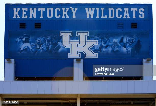 Kentucky Wildcats signage outside Kroger Field home of the University of Kentucky Wildcats football team in Lexington Kentucky on July 29 2019