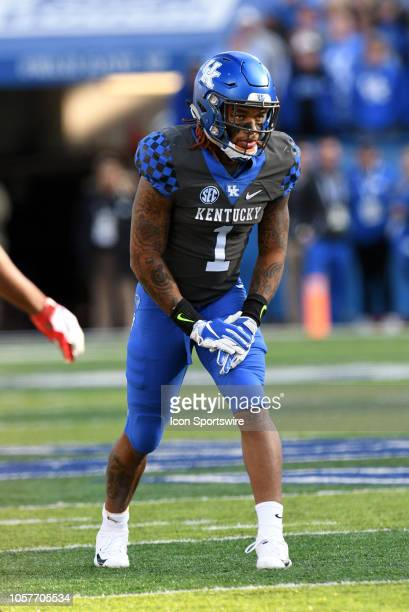 Kentucky Wildcats wide receiver Lynn Bowden Jr lines up for a play during the SEC college football game between the Georgia Bulldogs and the Kentucky...