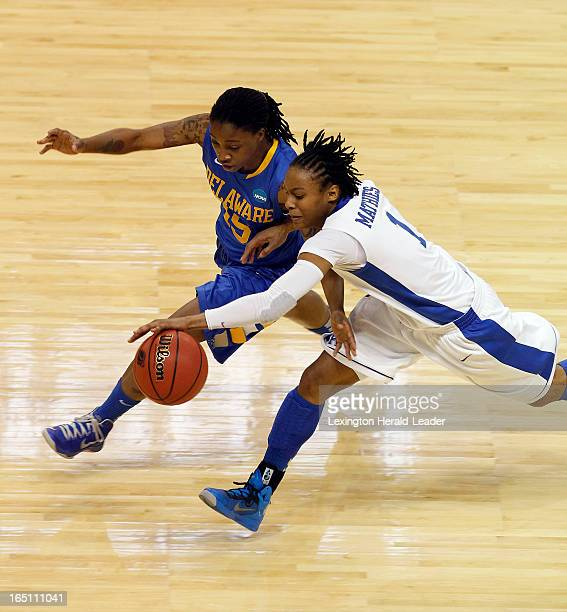 Kentucky's A'dia Mathies and Delaware's Akeema Richards vie for a loose ball in their NCAA Tournament East Region Sweet 16 game on Saturday March 30...