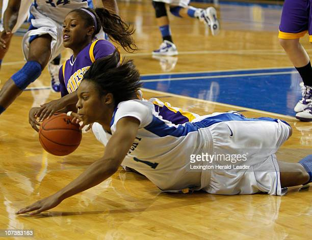 Kentucky's A'dia Mathies goes to the floor for a loose ball against Tennessee Tech's Briana Jordan in Lexington Kentucky on Tuesday December 7 2010...
