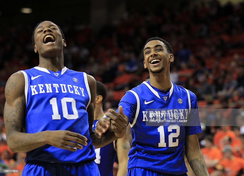 Kentucky's Archie Goodwin (10) and Ryan Harrow (12) laugh during an official's timeout for a review late in the game against Auburn at Auburn Arena in Auburn, Alabama, on Saturday, January 19, 2013. Kentucky won, 75-53.