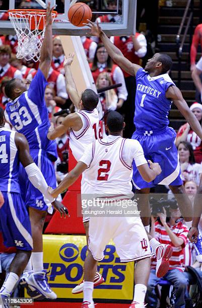 Kentucky's Darius Miller blocked a shot by Indiana's Verdell Jones III in the first half of a college basketball game Kentucky defeated Indiana 9073...