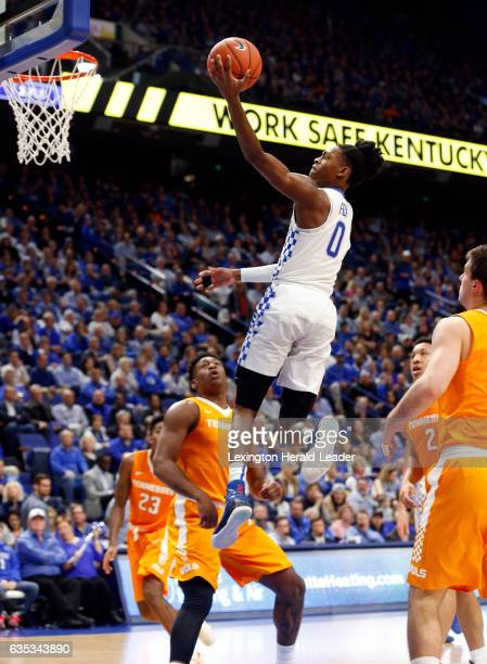Kentucky's De'Aaron Fox scores on Tennessee's Admiral Schofield in the second half at Rupp Arena in Lexington Ky on Tuesday Feb 14 2017 Kentucky won...