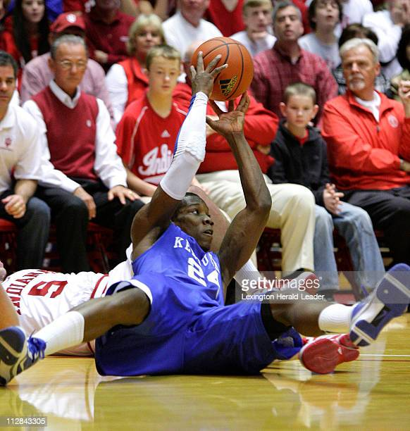 Kentucky's Eric Bledsoe battles for a loose ball with Indiana's Jeremiah Rivers during a college basketball game. Kentucky defeated Indiana, 90-73,...