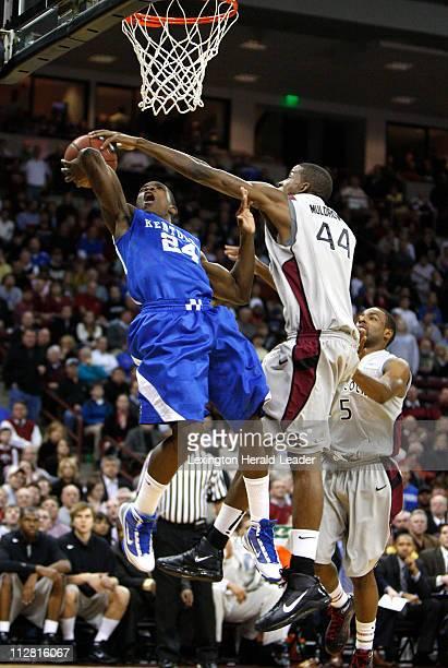 Kentucky's Eric Bledsoe has his shot blocked by South Carolina's Sam Muldrow at Colonial Life Arena in Columbia, South Carolina, Tuesday, January 26,...
