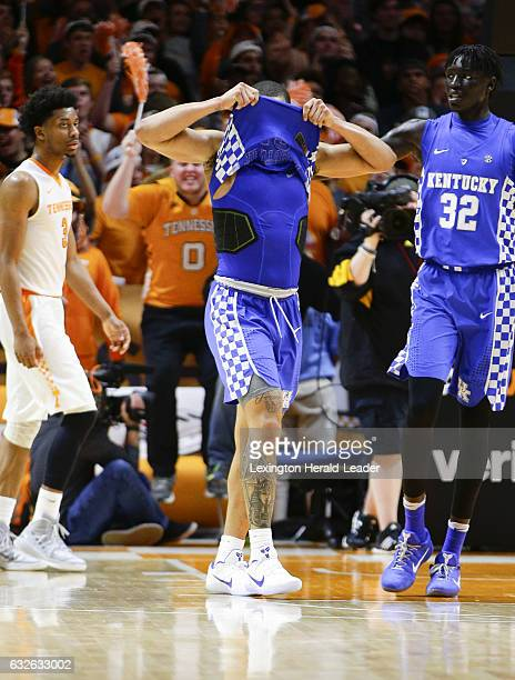 Kentucky's Isaiah Briscoe pulls his jersey over his head after missing a wide open layup against Tennessee at ThompsonBoling Arena in Knoxville Tenn...
