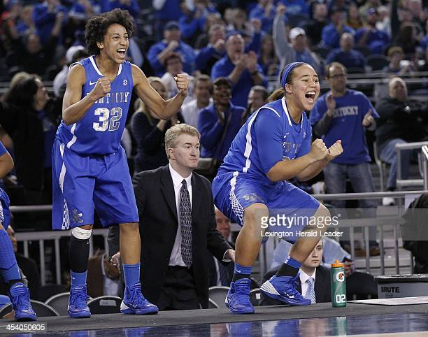 Kentucky's Kastine Evans and Makayla Epps celebrate as Kentucky defeats Baylor 133130 in four overtimes at ATT Stadium in Arlington Texas on Friday...