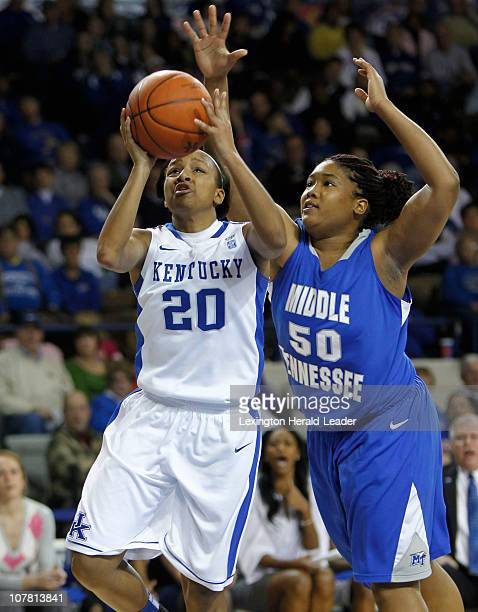 Kentucky's Maegan Conwright is fouled by KeKe Stewart of Middle Tennessee State in Lexington Kentucky on Wednesday December 29 2010