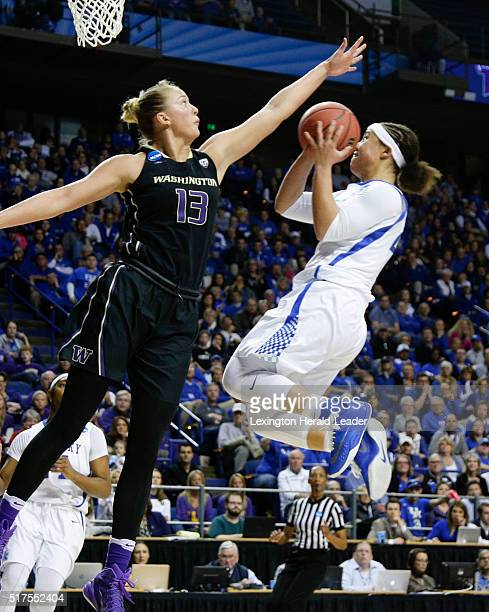 Kentucky's Makayla Epps right looks for a shot against Washington's Katie Collier in the third round of the NCAA Tournament on Friday March 25 at...