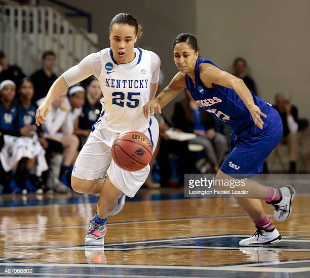 Kentucky's Makayla Epps steals the ball from Tennessee State's Michelle Cox in the first round of the NCAA Tournament at Memorial Coliseum in...