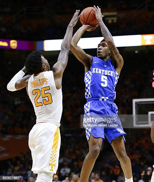 Kentucky's Malik Monk hits a jumper and draws a foul on Tennessee's Shembari Phillips at ThompsonBoling Arena in Knoxville Tenn on Tuesday Jan 24 2017
