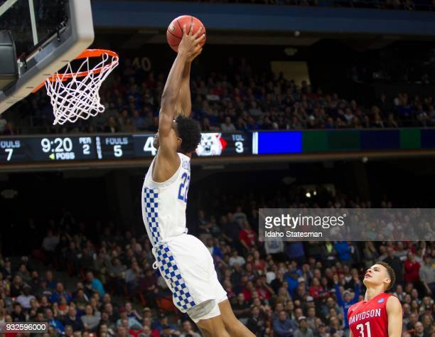 Kentucky's Shai GilgeousAlexander throws down a dunk in the second half against Davidson during the first round of the NCAA Tournament West Regional...