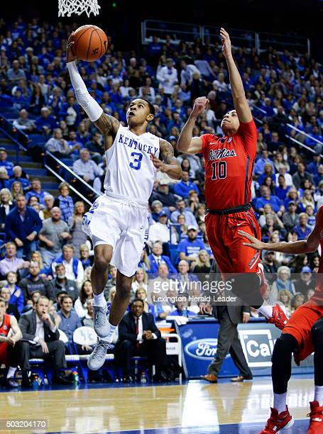 Kentucky's Tyler Ulis puts in two of his 13 firsthalf points against Ole Miss on Saturday Jan 2 at Rupp Arena in Lexington Ky