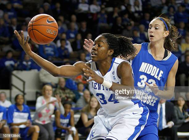 Kentucky's Victoria Dunlap tries to pull in a loose ball in front of Jordyn Luffman of Middle Tennessee State in Lexington Kentucky on Wednesday...