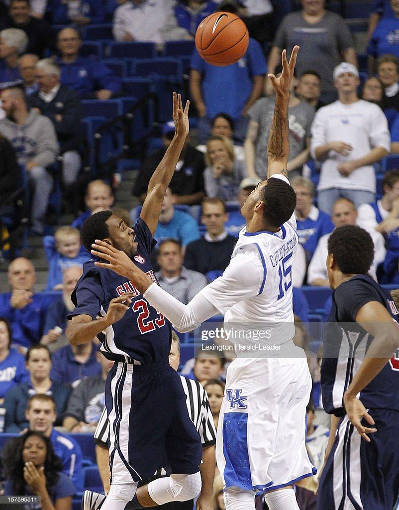 Kentucky's Willie Cauley-Stein (15) block the shot of Samford's Jaylen Beckham (23) at Rupp Arena on Tuesday, December 4, 2012, in Lexington, Kentucky. Kentucky defeated Samford 88-56.