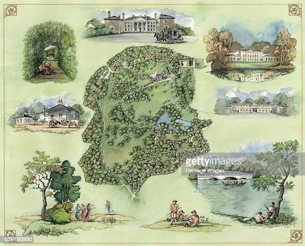 Kenwood House and grounds c17th century Showing an aerial view surrounded by views of the house and grounds Reconstruction drawing A former stately...