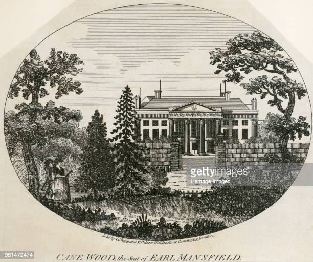 Kenwood House Hampstead London 1780 'Cane Wood the seat of the Earl of Mansfield' View showing the central range and main entrance portico from the...