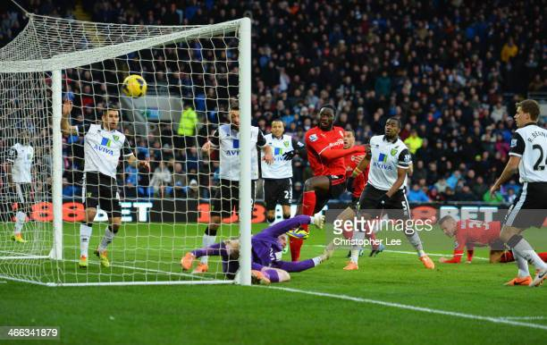 Kenwyne Jones of Cardiff City beats goalkeeper John Ruddy of Norwich City to score their second goal during the Barclays Premier League match between...