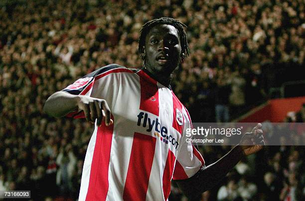 Kenwyne Jones of Southampton celebrates scoring their first goal during the CocaCola Championship match between Southampton and Sheffield Wednesday...