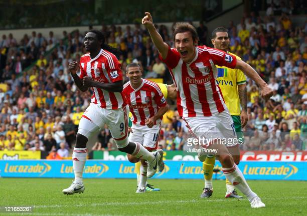Kenwyne Jones of Stoke celebrates scoring the equalising goal in the last minute during the Barclay's premier league match between Norwich and Stoke...