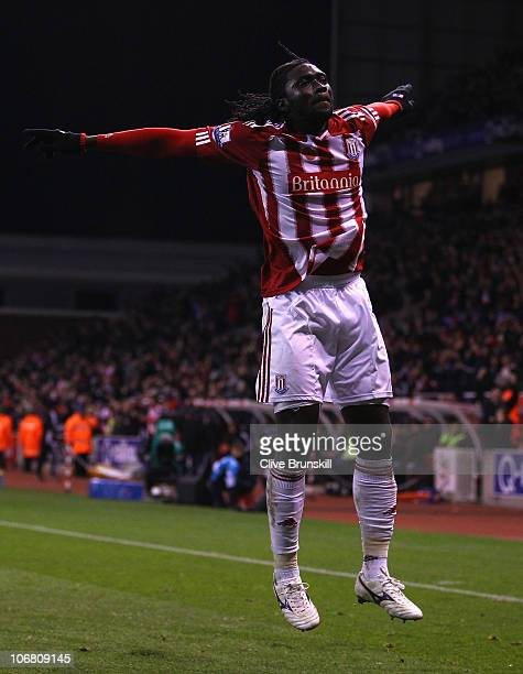Kenwyne Jones of Stoke City celebrates after scoring the second goal during the Barclays Premier League match between Stoke City and Liverpool at...