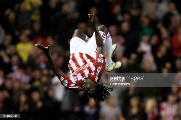 Kenwyne Jones of Stoke City celebrates scoring his team's first goal during the Barclays Premier League match between Stoke City and Aston Villa at...