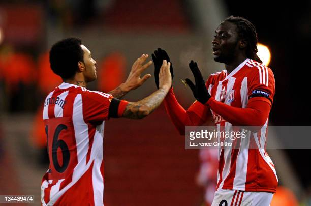 Kenwyne Jones of Stoke City celebrates scoring his team's first goal with team mate Jermaine Pennant during the UEFA Europa League Group E match...