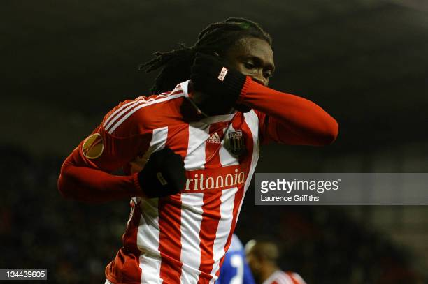 Kenwyne Jones of Stoke City celebrates scoring his team's first goal during the UEFA Europa League Group E match between Stoke City and FC Dynamo...