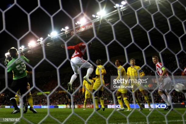 Kenwyne Jones of Stoke City scores his team's first goal during the UEFA Europa League Group E match between Stoke City and Maccabi Tel-Aviv FC at...