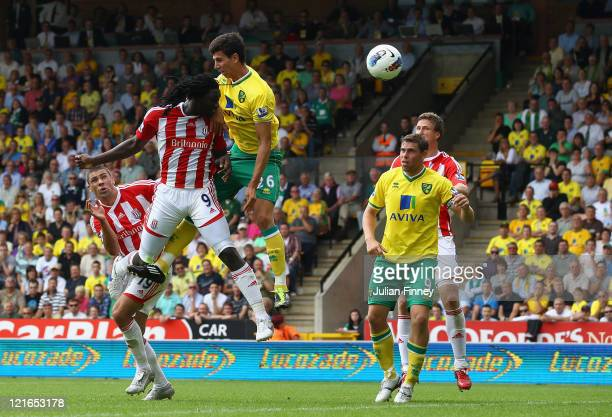 Kenwyne Jones of Stoke heads the equalising goal in the last minute during the Barclay's premier league match between Norwich and Stoke City at...