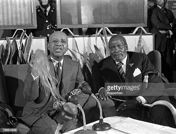 Kenya Africa 22nd June President of Malawi Dr Hastings Banda sitting with President Jomo Kenyatta of Kenya during talks at Nairobi Airport