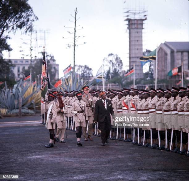1963 Kenya Africa Kenya Independence Ceremonies President Jomo Kenyatta is pictured inspecting a Guard of Honour