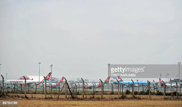 Kenya Airways airliners sit grounded on August 14 2009 at Nairobi's Jomo Kenyatta International Airport after staff of the national carrier went on...