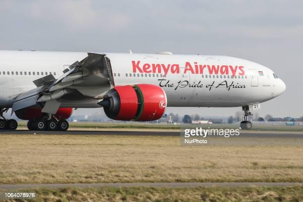 Kenya Airways Boeing 777-300 landing at Amsterdam Schiphol Airport in The Netherlands. Kenya Airways connects Amsterdam to Jomo Kenyatta...