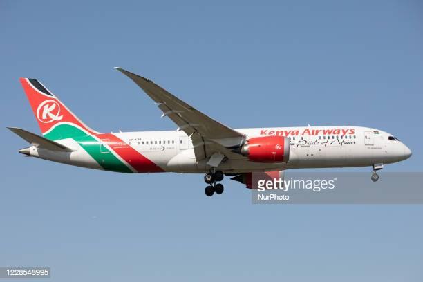 Kenya Airways Boeing 787 lands at London Heathrow Airport, England on Monday 14th September 2020.