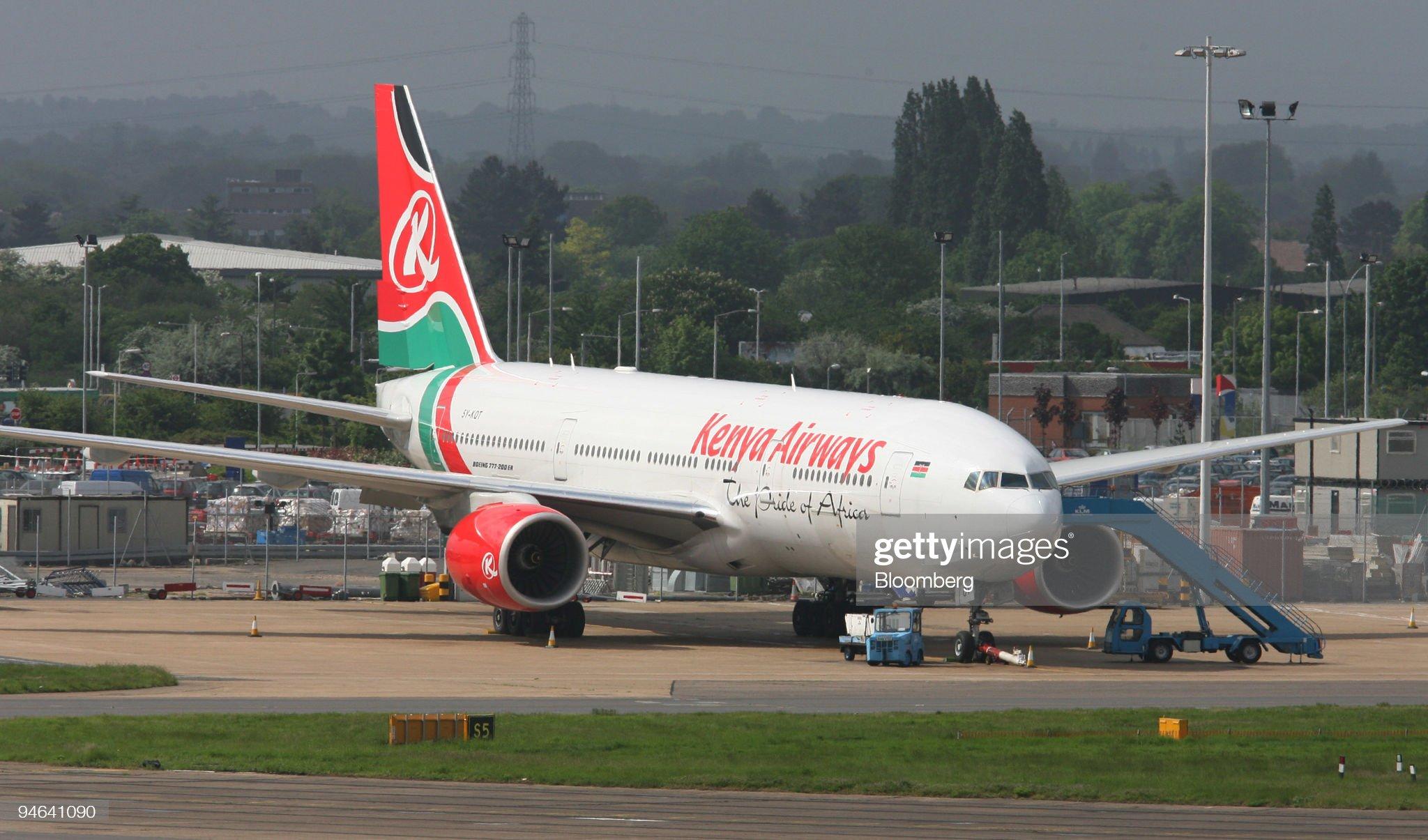 A Kenya Airways jet is parked at London's Heathrow Internati : News Photo