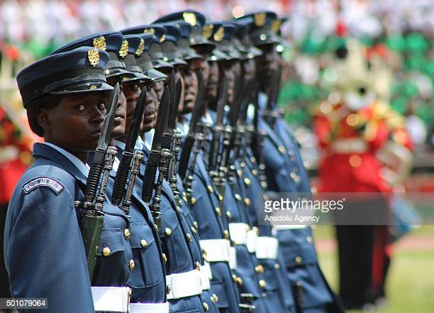 Kenya armed forces parade during the celebrations of Jamhuri Day at Nyayo National Stadium in Nairobi Kenya on December 12 2015 Jamhuri Day is...