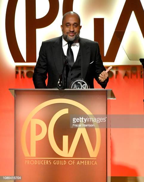 Kenya Barris accepts the 2019 Visionary Award onstage during the 30th annual Producers Guild Awards at The Beverly Hilton Hotel on January 19 2019 in...