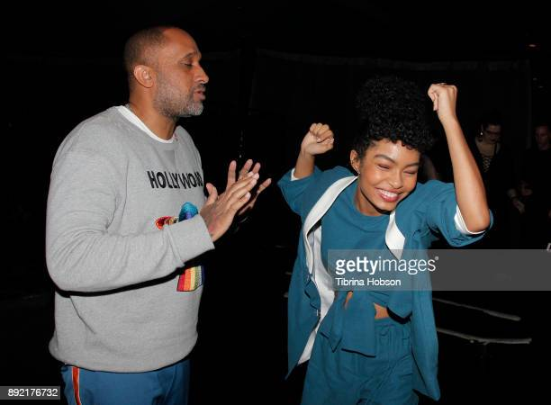 Kenya Barris and Yara Shahidi attend the premiere of ABC's 'Grownish' after party on December 13 2017 in Hollywood California