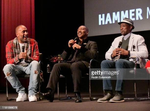 Kenya Barris Eddie Murphy and Wesley Snipes speak on stage at the Hammer Museum Los Angeles Presents MoMA Contenders 2019 Screening and QA of...