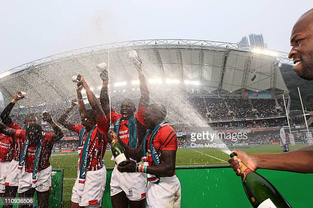 Kenya celebarte after defeating Spain to win the Shield Final during day three of the IRB Sevens at Hong Kong Stadium on March 27 2011 in So Kon Po...