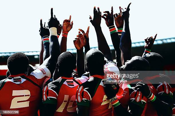 Kenya celebrate winning the quarterfinal cup match between Kenya and South Africa during the 2013 Wellington Sevens at Westpac Stadium on February 2,...