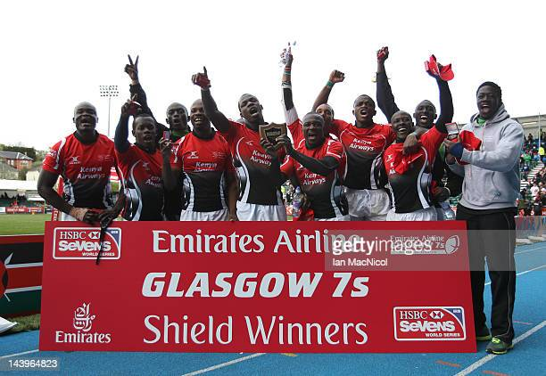 Kenya celebrate with the Shield during day two of the IRB Glasgow Sevens at Scotstoun Stadium on May 6 2012 in Glasgow Scotland