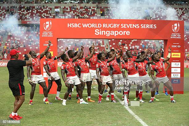 Kenya celebrate with the trophy after winning the 2016 Singapore Sevens Cup Final Match between Fiji and Kenya during the HSBC Singapore Sevens the...