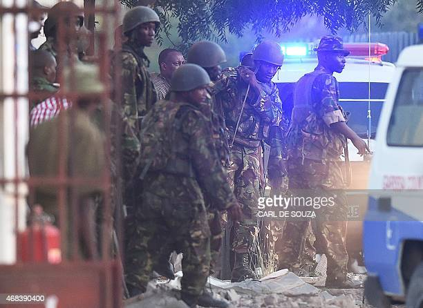 Kenya Defence Forces are pictured after they ended a siege by gunmen in the university on April 2, 2015 in the northeastern town of Garissa. At least...