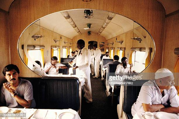 Kenya, dining car in train travelling from Nairobi to Mombassa